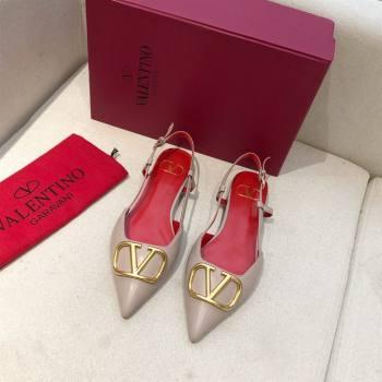 Valentino VLOGO Calfskin Slingback FLATS nude pink/RED 2020 (modeng-210305-15)