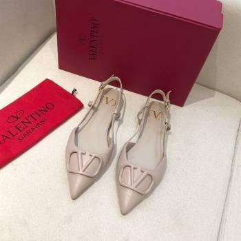 Valentino VLOGO Calfskin Slingback FLATS nude pink 2020 (modeng-210305-16)