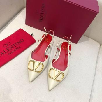 Valentino VLOGO Calfskin Slingback FLATS WHITE/RED 2020 (modeng-210305-12)