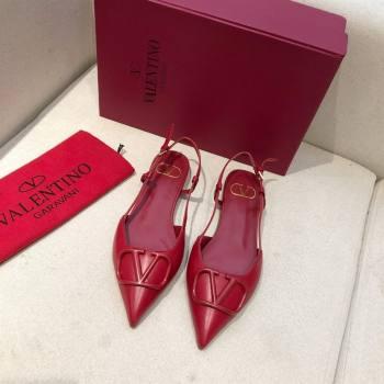 Valentino VLOGO Calfskin Slingback FLATS red 2020 (modeng-210305-18)