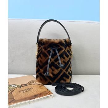 Fendi Mon Tresor Wool FF Logo Mini Bucket Shoulder Bag Brown 2020 (chaoliu-5639)