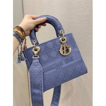Lady Dior Medium Bag in Embroidered Canvas gray blue 2020 (vivi-201125-b)