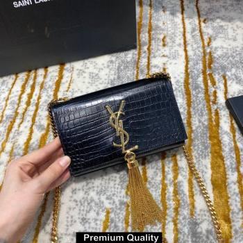 saint laurent mini Kate chain wallet with tassel in crocodile embossed leather 354120 black/gold (jundu-6147)