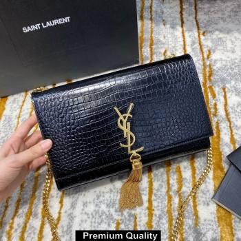 saint laurent Kate chain wallet with tassel in crocodile embossed leather 354119 black/gold (jundu-1450)