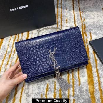 saint laurent Kate chain wallet with tassel in crocodile embossed leather 354119 blue/silver (jundu-4127)