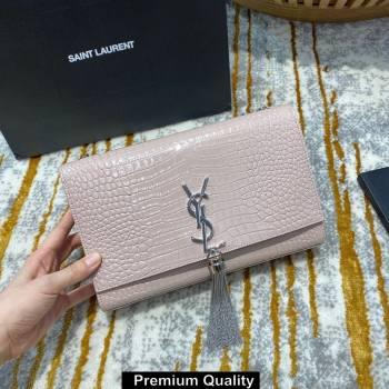saint laurent Kate chain wallet with tassel in crocodile embossed leather 354119 pink/silver (jundu-4391)