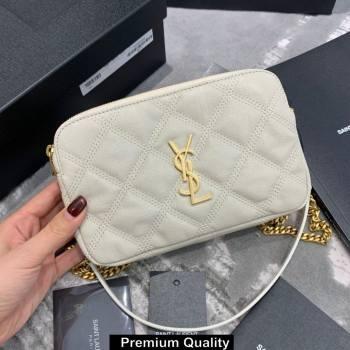 saint laurent becky clutch bag in lambskin 608941 white (original quality) (jundu-9617)