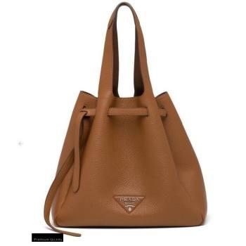 Prada Soft Leather Tote Bag with Drawstring Closure 1BG339 Brown 2020 (gongyifang-20110606)