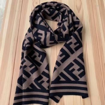 Fendi FF Wool Silk Scarf 40x210 Coffee/Black 2019 (WNS-0011649)