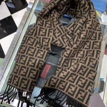 Fendi Vintage FF Wool Fringe Scarf 30x180 Coffee/Black 2019 (WNS-0011648)
