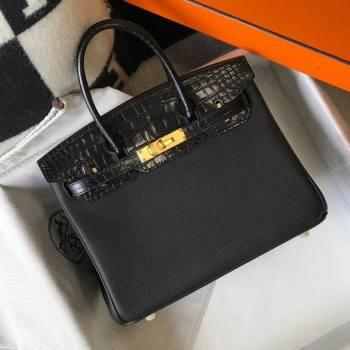 Hermes Touch Birkin Bag 30cm in Crocodile Embossed Leather and Togo Calfskin Black/Gold 2021 (FL-21031811)