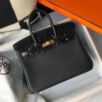 Hermes Touch Birkin Bag 25cm in Crocodile Embossed Leather and Togo Calfskin Black/Gold 2021 (FL-21031810)