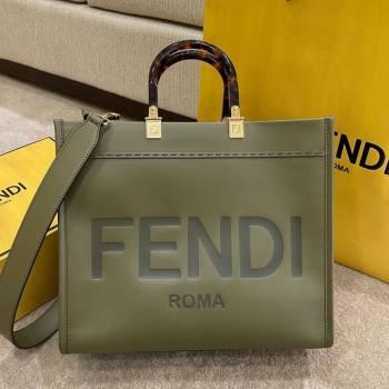 Fendi Sunshine Medium Shopper Leather Tote Bag Green 2021 (AFEI-21031907)
