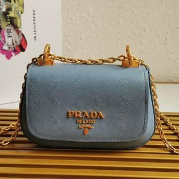 Prada Saffiano Leather Shoulder Bag 1BD275 Light Blue 2020 (YZ-21031915)