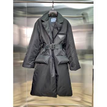 Prada Re-Nylon Long Down Jacket PJ145 Black 2021 (Q-210914061)