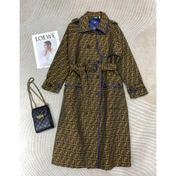 Fendi FF Fabric Long Coat FC148 Brown 2021 (Q-210914064)
