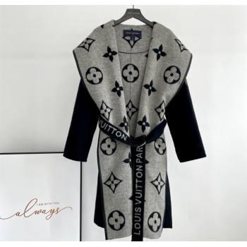 Louis Vuitton BELTED DOUBLE FACE HOODED WRAP COAT Black 2021 (Q-210915055)