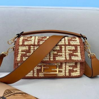 Fendi Raffia Baguette Medium Bag Brown 2021 (CL-21032012)