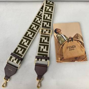 Fendi Strap You Shoulder Strap in Grey/Green FF Ribbon 2021 (CL-21032015)