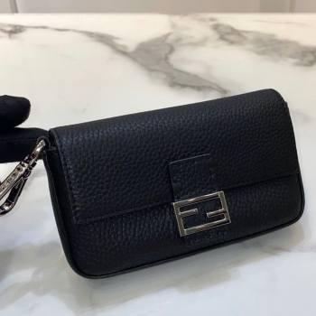 Fendi Nano Baguette Charm in Black Grained Leather 2021 (CL-21032018)