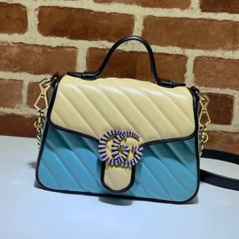 Gucci GG Marmont Leather Mini Bag 446744 Pastel Blue/Apricot 2021 (DLH-21072613)