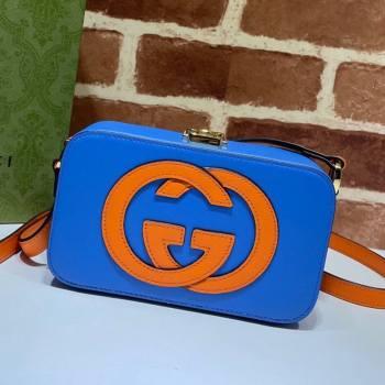 Gucci Leather Interlocking G Mini Bag 658230 Blue/Orange 2021 (DLH-21072617)