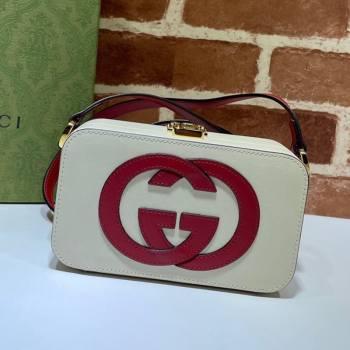 Gucci Leather Interlocking G Mini Bag 658230 White/Red 2021 (DLH-21072616)