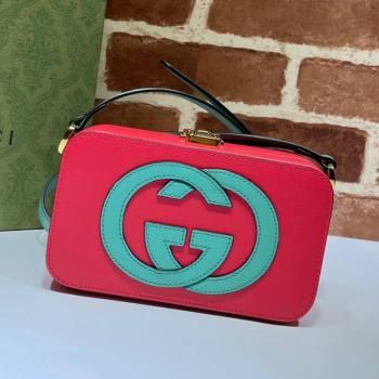 Gucci Leather Interlocking G Mini Bag 658230 Pink/Green 2021 (DLH-21072619)