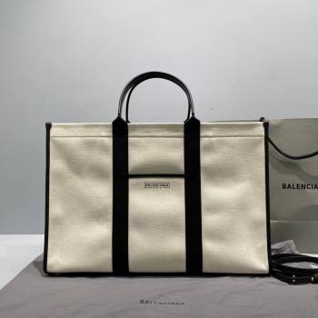 Balenciaga Hardware Large Tote Bag in White Cotton Canvas 2021 (ningm-21091501)