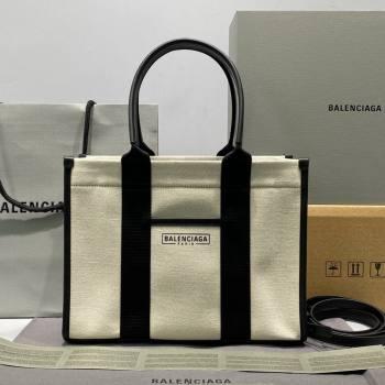 Balenciaga Hardware Small Tote Bag in White Cotton Canvas 2021 (ningm-21091503)