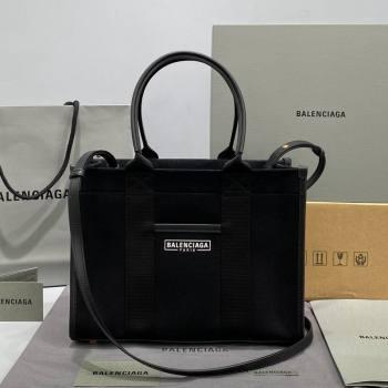 Balenciaga Hardware Small Tote Bag in Black Cotton Canvas 2021 (ningm-21091504)