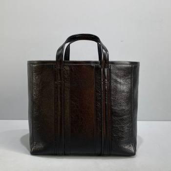 Balenciaga Barbes Medium East-West Shopper Bag in Striped Lambskin Black Leather 2021 (ningm-21091513)