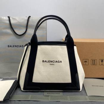 Balenciaga Navy Cabas Small in Cotton Canvas Beige/Black 2021 (ningm-21091520)