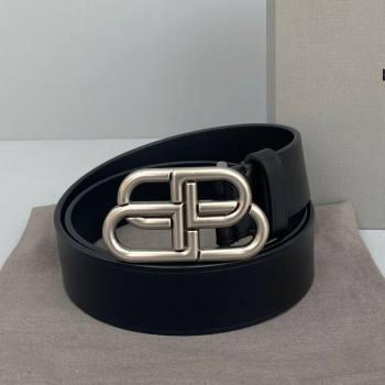 Balenciaga Calfskin BB Large Belt with Logo Buckle Black/Silver 2021 (ningm-21091522)