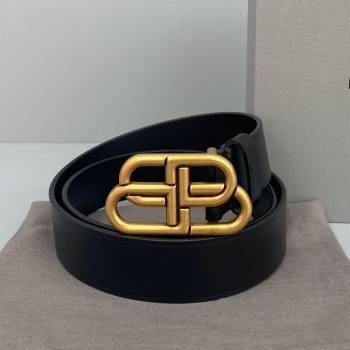 Balenciaga Calfskin BB Large Belt with Logo Buckle Black/Gold 2021 (ningm-21091521)