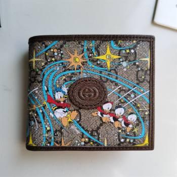Gucci x Disney Donald Duck GG Canvas Billfold Wallet 647937 Beige/Blue 2020 (DLH-20112544)