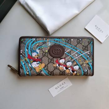 Gucci x Disney Donald Duck GG Canvas Zip Around Wallet 647940 Beige/Blue 2020 (DLH-20112546)