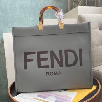Fendi Sunshine Shopper Leather Tote Bag Grey 2020 (AFEI-20112601)