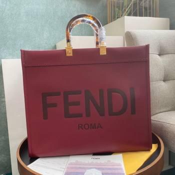 Fendi Sunshine Shopper Leather Tote Bag Burgundy 2020 (AFEI-20112603)