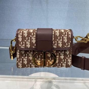 Dior 30 Montaigne CD Oblique Canvas Mini Box Shoulder Bag Brown 2020 (BF-20112606)