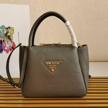 Prada Small Leather Top handle Bag 1BC145 Grey 2020 (YZ-20112715)