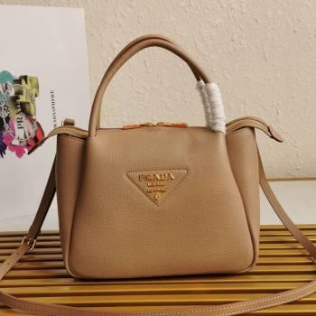 Prada Small Leather Top handle Bag 1BC145 Beige 2020 (YZ-20112714)