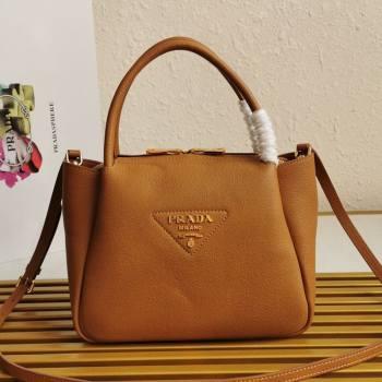 Prada Small Leather Top handle Bag 1BC145 Brown 2020 (YZ-20112713)