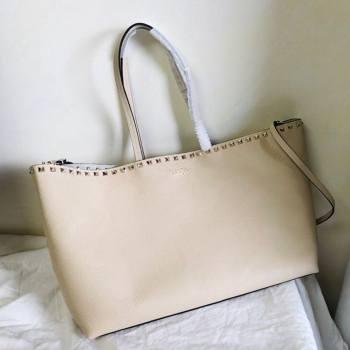 Valentino Large Grainy Calfskin Leather Rockstud Shopping Bag 0071L White 2020 (JD-20112749)