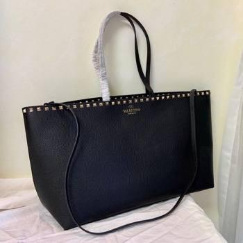 Valentino Large Grainy Calfskin Leather Rockstud Shopping Bag 0071L Black/Gold 2020 (JD-20112748)