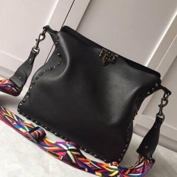 Valentino Small Grainy Calfskin Leather Rockstud Hobo Bag 50031L Black 202001 (JD-20112751)