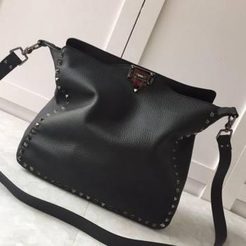 Valentino Small Grainy Calfskin Leather Rockstud Hobo Bag 50031L Metal Black 2020 (JD-20112752)