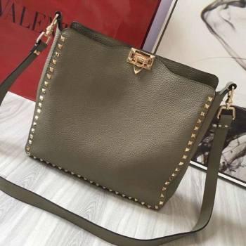 Valentino Small Grainy Calfskin Leather Rockstud Hobo Bag 50031L Grey Dove 2020 (JD-20112753)