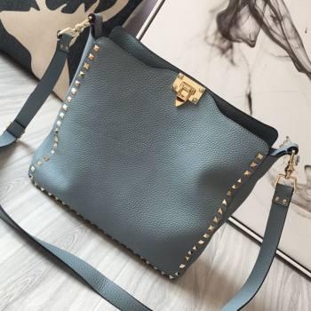 Valentino Small Grainy Calfskin Leather Rockstud Hobo Bag 50031L Light Blue 2020 (JD-20112756)