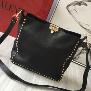 Valentino Small Grainy Calfskin Leather Rockstud Hobo Bag 50031L Black/Gold 2020 (JD-20112757)